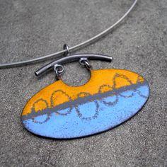 Enamel Pendant- Tangerine Orange, Periwinkle Blue, and Slate Grey Abstract Sgraffito. $150.00, via Etsy.