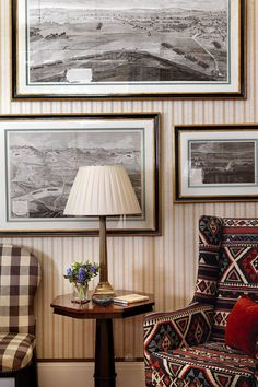"""The chairs are covered in 'Eaton Check' by Colefax & Fowler.  Like this? Then you'll love  [link url=""""http://www.houseandgarden.co.uk/interiors/furnishings/choosing-upholstery-fabrics-with-rita-konig""""]Rita Notes: Upholstery Fabrics[/link]"""