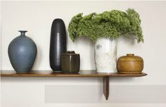 Brad Ford ID, New York Apartment, assorted ceramics on wood shelf from R century, Remodelista Ford Interior, Best Interior, Interior Styling, Interior Decorating, Interior Design, Wood Shelves, Shelving, Vases Decor, Decor Styles