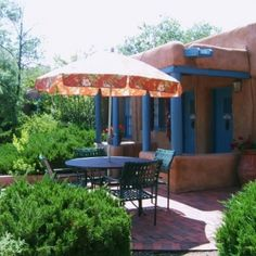 The Zuni Suite patio at Pueblo Bonito Inn in Santa Fe, NM.