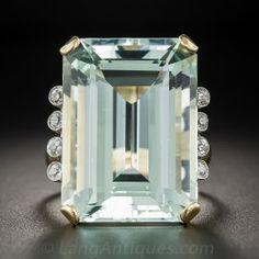 30 Carat Retro Aquamarine and Diamond Ring - Retro Jewelry - Vintage Jewelry