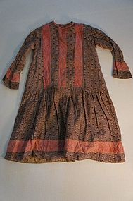 19th C brown calico child's dress antique
