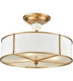 Hey Look What I found at Lighting New York ELK 33052/3 Ceramique 3 Light 16 inch Antique Gold Leaf Semi Flush Mount Ceiling Light #LightingNewYork