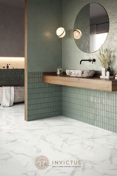 Loft Bathroom, Upstairs Bathrooms, Downstairs Bathroom, Green Bathroom Tiles, Bathtubs For Small Bathrooms, Bathroom Design Small, Bathroom Interior Design, Minimalist Bathroom, Beautiful Bathrooms