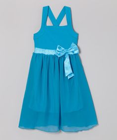 Look what I found on #zulily! Turquoise Cross-Back Bow Dress - Toddler & Girls by Littoe Potatoes #zulilyfinds