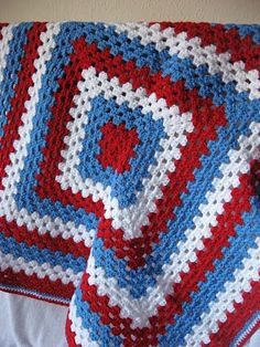 Granny square blanket - red white and blue
