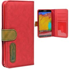 Amazon.com: myLife Fire Engine Red {Lined Design} Faux Leather (Card, Cash and ID Holder + Magnetic Closing) Slim Wallet for Galaxy Note 3 S...