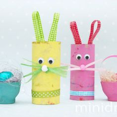 easter bunnies - eggcarton and toilet paper roll #easter #craft #kids