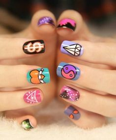 Image via We Heart It #colourful #creative #cute #diamond #heart #nailart #nails #dollarsign