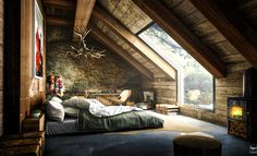 Best Attic Bedroom Designs Ideas, In most home the attic is the room upstairs that is extremely hot and is not finished. It has open floors and what little space it does have is used to...