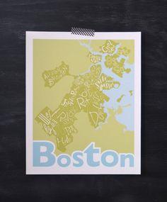 Boston Neighborhoods Map Print /// Fun gift idea!