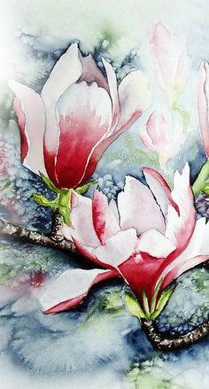 'Magnolie im Frost 2'    Maria Inhoven Watercolor