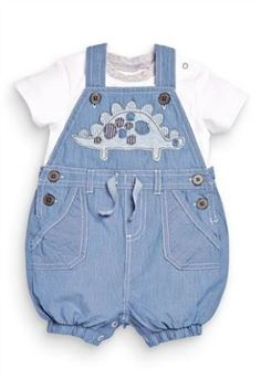Buy Ticking Stripe Dino Dungarees With Bodysuit (0-18mths) from the Next UK online shop