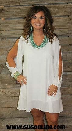 Not Like Other Girls Open Sleeve Dress in White $34.95 www.gugonline.com
