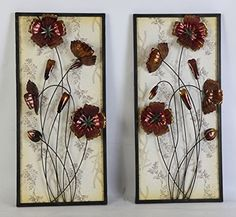 Chocolate Cosmos  A Modern Looking Home and Office Metal Wall Decor twin pack * Click on the image for additional details. (This is an affiliate link) #WallSculptures