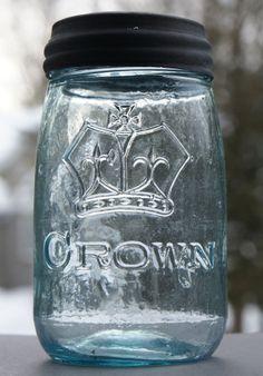 Rare ** CROWN ** NO - DOT ** Midget Pint Fruit Jar