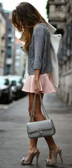 Pink Pleated Shorts with Grey Knit Sweater Top and Christian Louboutin