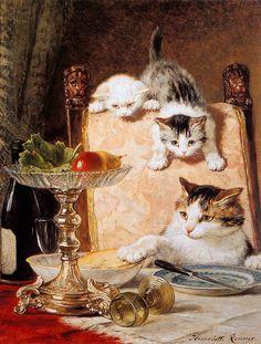 Henriette Ronner-Knip (Amsterdam 1821-1909 Elsene) les ameurs de fromage sun