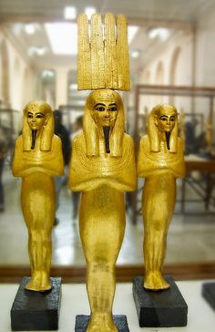 Golden statues of Egyptian Gods ( Egyptian Museum, Cairo ) Is that Anhur (Onuris) in front. Egyptian Pharaohs, Ancient Egyptian Art, Ancient History, European History, Ancient Aliens, Ancient Greece, American History, Art Ancien, Monuments