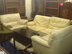 Leather 3 price suite, two arm chairs and 2 seater sofa for £115.00
