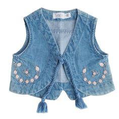 Soft denim vest with pink floral embroidery on the pockets. Denim Waistcoat, Denim Vests, Denim Jacket Men, Tocoto Vintage, Kids Vest, Kids Dress Patterns, Kids Gown, Girl Trends, Kids Fashion