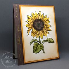 Sunflower card watercolored with Zig Clean Color Real Brush pens. Stamps from Stampendous and Lawn Fawn.