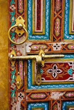 Fez, Morocco. Painted Wooden Door in the Old City. Poster Print by Charles O. Cecil (24 x 36)