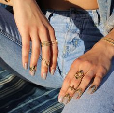 Jewels: lit dope chevron ring gold ring nail polish gold jewelry knuckle ring stacked ring stacked
