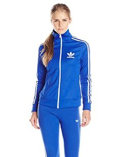 adidas Originals Women's Europa Track Top, X-Small, Bold Blue Adidas Tracksuit, Tracksuit Tops, Adidas Originals, Nike Compression, Adidas Outfit, Long Hoodie, Adidas Women, Jackets For Women, Coach Discount