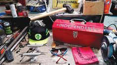 More cool new shit from Independent out now including the Shnyder Toolbox that comes with 2 logo shop rags and a logo box cutter! Check it all out at independenttrucks.com/fall. | @nhs_inc #independenttrucks #rtbftr