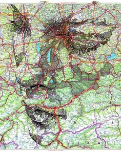 Apparition de visages L'artiste Ed Fairburn utilise le patchwork chaotique des routes, des trains et autres éléments imprimées sur des cartes comme support