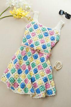 crochet flowers dress for beach - crafts ideas - crafts for kids