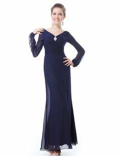 Amazon.com: Ever Pretty Dark Blue Double V-Neck Diamante Long Sleeve Evening Dress 09887: Clothing