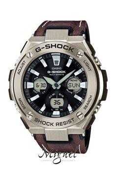 Reloj Casio G-Shock G-Steel en acero y piel marrón, solar y Wave Receptor, para hombre, GST-W130L-1AER.
