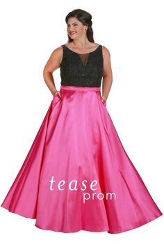 ff8f9f4189f Look like a Hollywood star at Prom 2017 in a glam red-carpet beaded plus  size dress. Flattering A-line satin skirt with pockets.