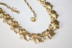 Vintage Necklace Maple Leaf Collar Designer 1950s by patwatty, $11.00