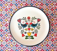 Vintage Pennsylvania Dutch Folk Art Tray - Made in Japan