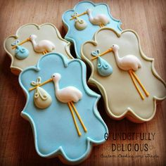 Baby Shower Stork Cookies - Cookie Connection