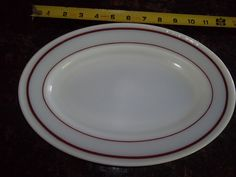 "4 Pyrex Tableware12"" Oval Dinner Plate White with Ruby Rim by PyrexKitchen on Etsy"
