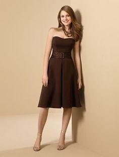 Cheap Strapless A-line Tea Length Chiffon Satin Bridesmaid Dresses Shop Online For Sale [KB0118] - $75.00