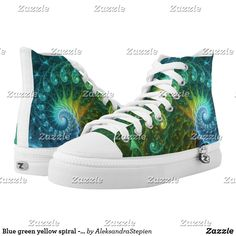 Blue green yellow spiral - fractal impression. High-Top sneakers Victorian Shoes, Blue Green, Yellow, Custom Sneakers, On Shoes, Savage, Converse Chuck Taylor, Spiral, High Tops