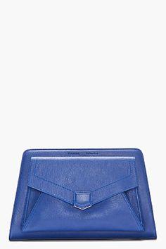 Proenza Schouler Royal Blue Leather Ps13 embrague para las mujeres | Ssense