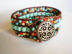 Turquoise Jewelry Cuff Southwestern Leather Cuff by RopesofPearls, $56.00