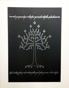 Tolkien inspired foiled art print, the Tree of Gondor from the Lord of The Rings printed in metallic silver foil