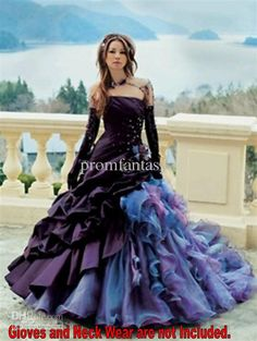 Wholesale Cheap Wedding Dresses - Buy 2013 Purple Colorful Gothic Victorian Unique Wedding Dresses Lavish Ruffle Affordable Strapless Ball G...