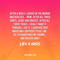 After a while I looked in the mirror and realized... wow, after all those hurts, scars and bruises, after all those trials, I really made it through. I did it. I survived that which was supposed to kill me. So I straightened my crown... and walked away like a boss. #likeaboss #toxic #survivor #healing #crown #strongwoman #selfgrowth #personaldevelopment #evolving