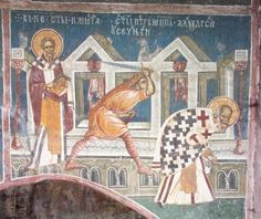 Clement and Peter Fresco from Decani Monastery depicting St. Clement the Hieromartyr Pope of Rome and the Martyrdom of St. Peter the Hieromartyr, Archbishop of Alexandria Fresco, Tempera, Pope Of Rome, Church Interior, Byzantine Icons, Religious Images, Mural Painting, Kirchen, Alexandria