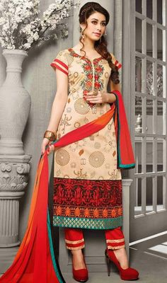 Genuine beauty will come out of your dressing style with this cream shade embroidered chanderi silk salwar dress. The digital print, lace and resham work appears to be chic and perfect for any celebration. #MarvelousBeigePantStyleSuit