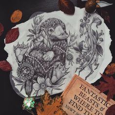 """georginatattoo: """"Just wanted to say thank you so much to everyone who sent a kind message or comment regarding the unfortunate event of last week. I've drawn up a Niffler stealing a Philosophers Stone and Pickett the Bowtruckle and I'd love to tattoo..."""