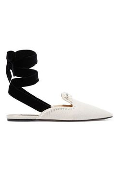 Slight heel Ecru canvas Ties at ankle  Designer color: Bolero Nero Comes with dust bag Made in Italy